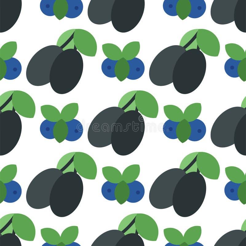 Blom- sömlös modell med illustrationen för vektor för bakgrund för bär för vegetariskt vitamin för skörd för plommonnaturfrukt de stock illustrationer