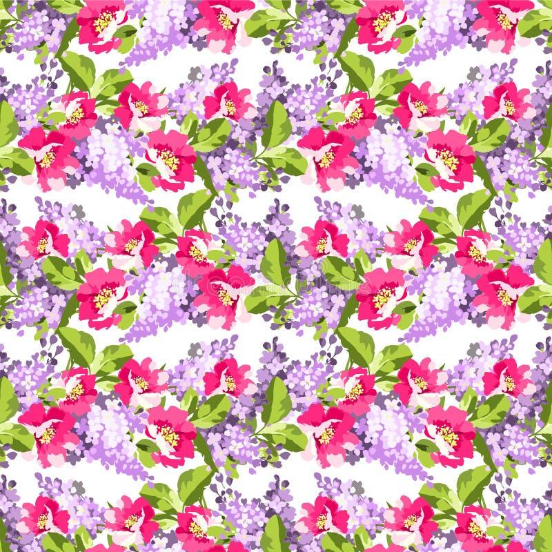 Blom- sömlös modell med lilablommor och rosa höfter vektor illustrationer