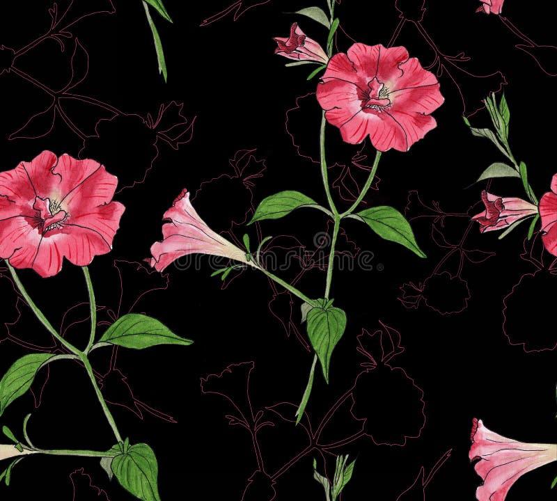 Blom- sömlös modell med petunior royaltyfri illustrationer