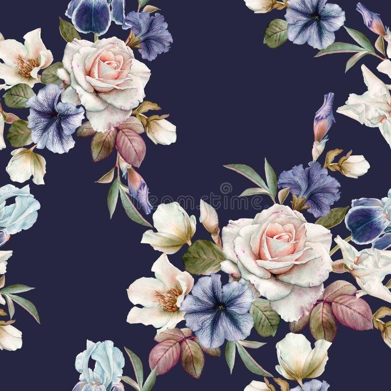 Blom- sömlös modell med petunior, helleboren, rosor och iriers royaltyfri illustrationer