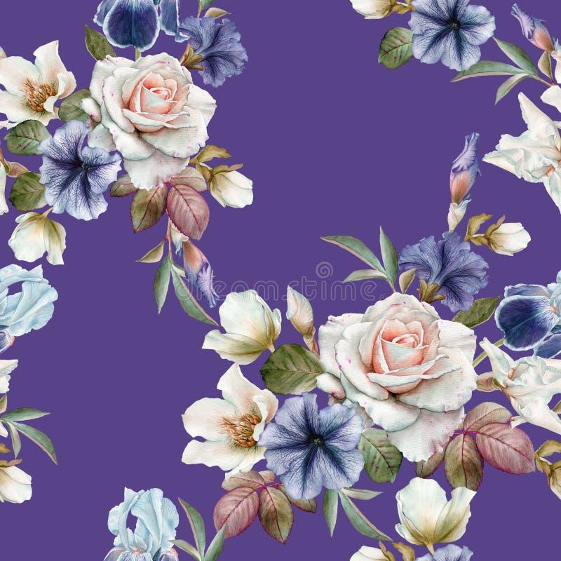 Blom- sömlös modell med petunior, helleboren, rosor och iriers vektor illustrationer
