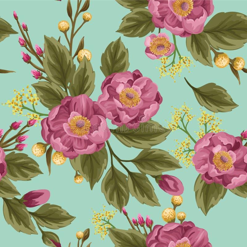 Blom- sömlös modell med pioner stock illustrationer