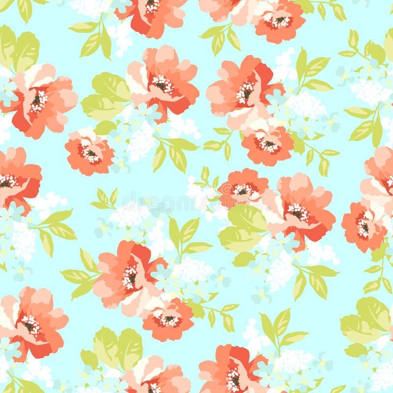 Blom- sömlös modell med rosa blommor royaltyfri illustrationer