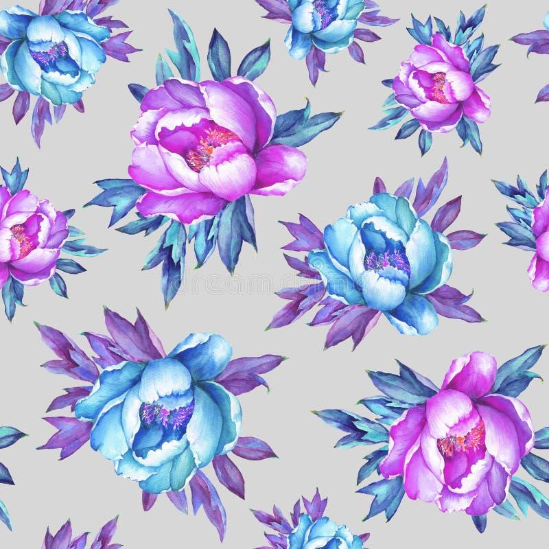 Blom- sömlös modell med rosa och blåa pioner för blomning, på grå bakgrund Dragen vattenfärghand måla illustrationen P vektor illustrationer
