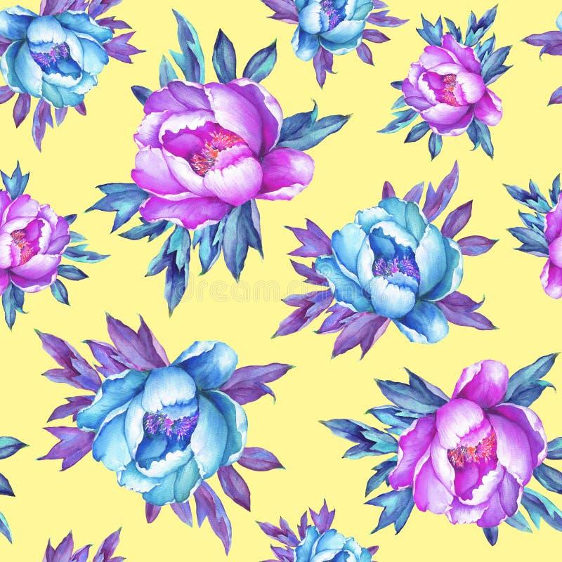 Blom- sömlös modell med rosa och blåa pioner för blomning, på gul bakgrund Dragen vattenfärghand måla illustrationen royaltyfri illustrationer
