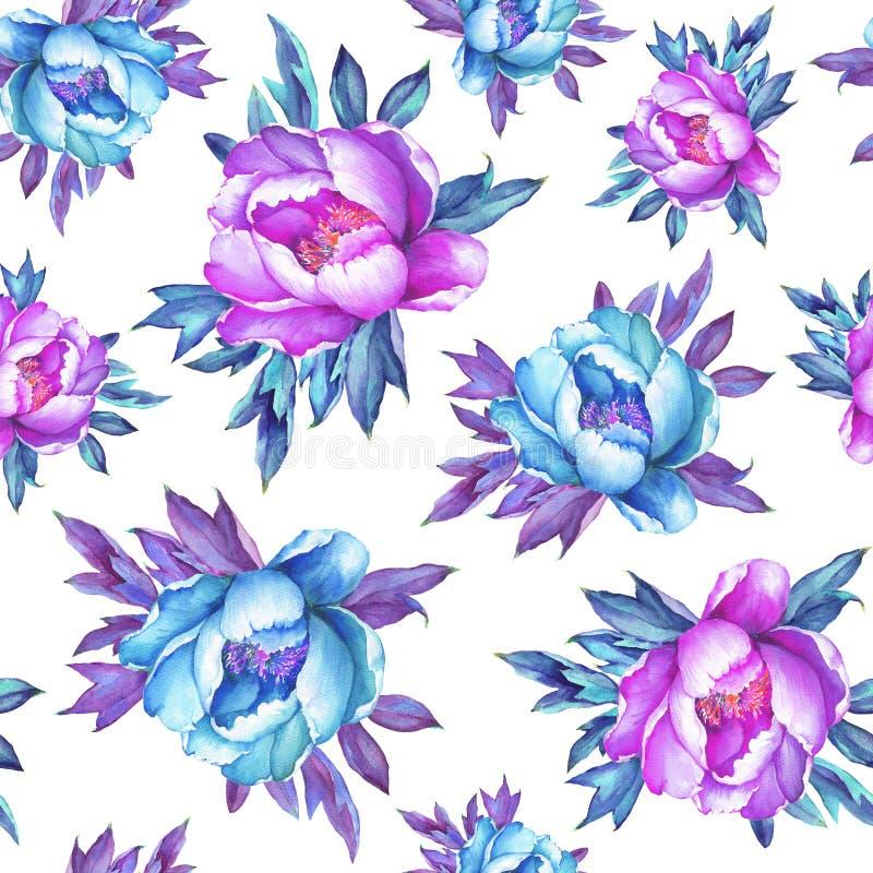 Blom- sömlös modell med rosa och blåa pioner för blomning, på vit bakgrund Dragen vattenfärghand måla illustrationen P royaltyfri illustrationer