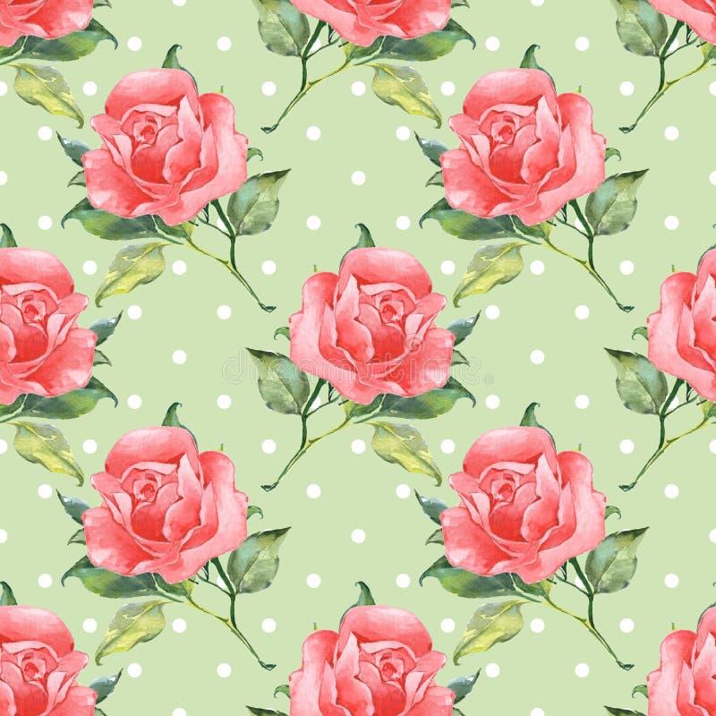 Blom- sömlös modell med rosor 5 stock illustrationer