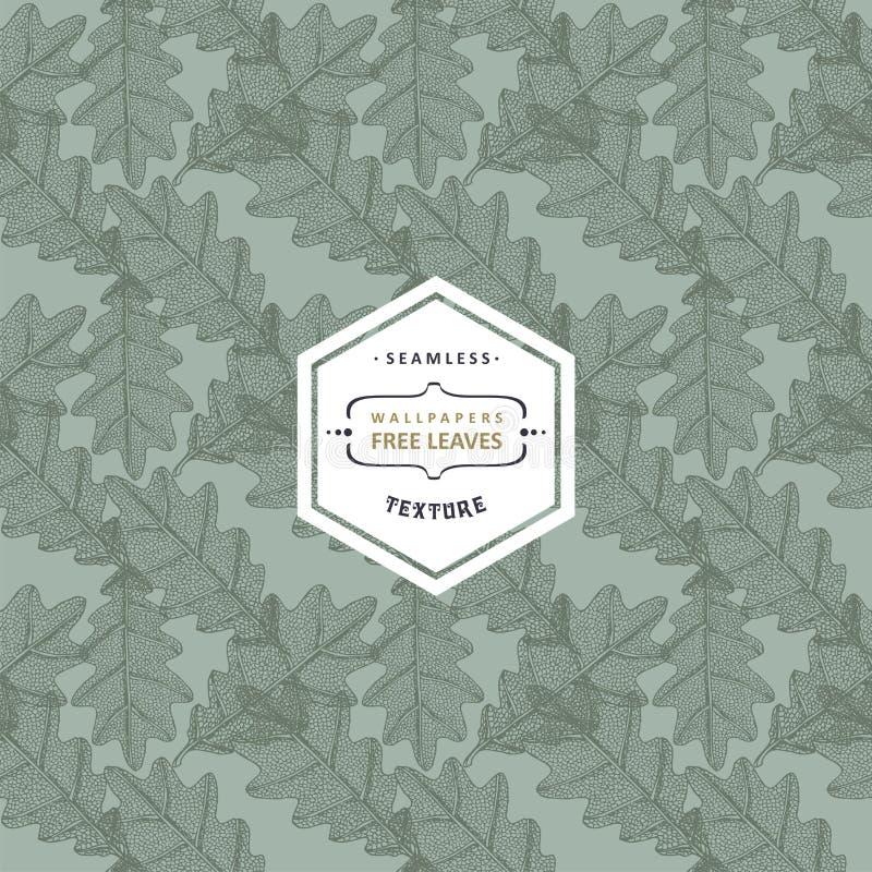 Blom- sömlös modell med trädsidor Lönn alm, ek, asp stock illustrationer