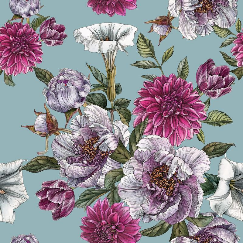 Blom- sömlös modell med vattenfärgpioner, daturablomman, dahlior och tulpan royaltyfri illustrationer
