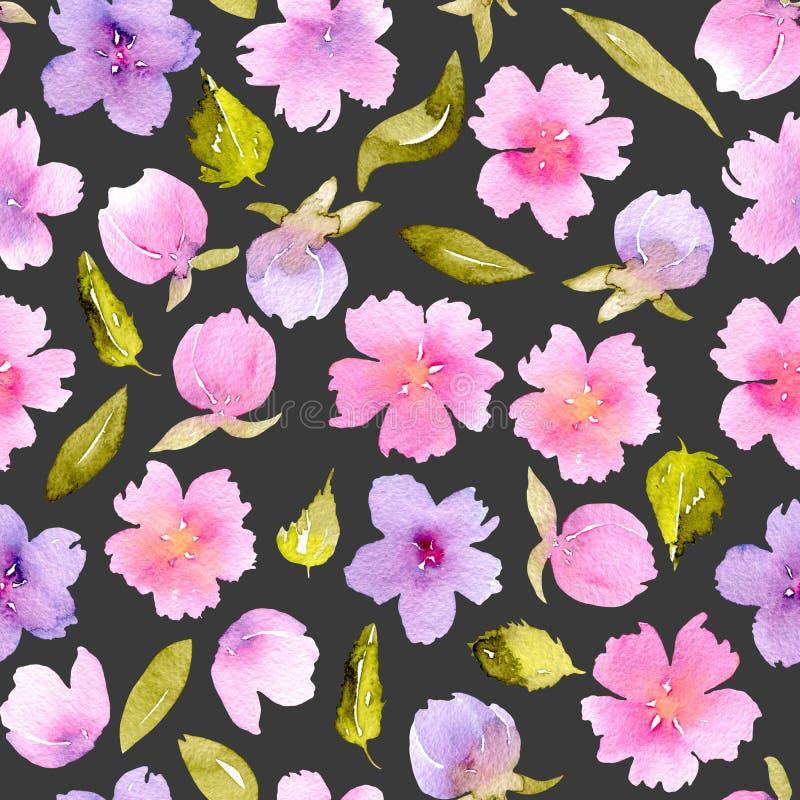 Blom- sömlös modell med vattenfärgrosa färger, lilablommor och gräsplansidor royaltyfri illustrationer