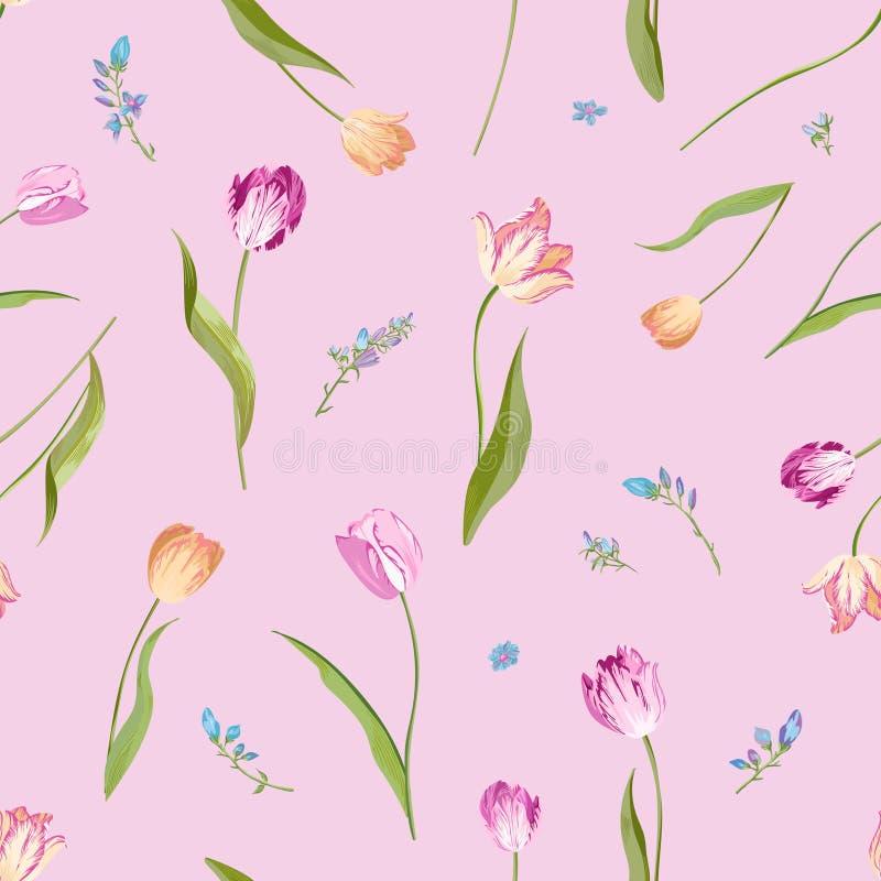 Blom- sömlös modell med vattenfärgtulpan Vårbakgrund med blomningen blommar för tyg, tapeten, affischer, baner royaltyfri illustrationer