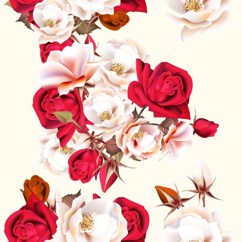 Blom- sömlös modell med vita och röda rosor i tappningstyl royaltyfri illustrationer