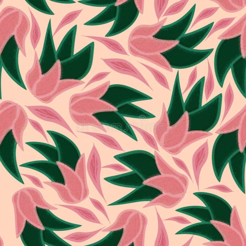 Blom- sömlös modell på en rosa bakgrund med rosa sidor vektor illustrationer