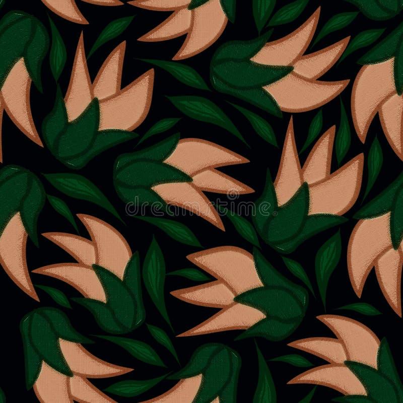 Blom- sömlös modell på en svart bakgrund med sidor royaltyfri illustrationer