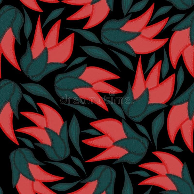 Blom- sömlös modell på en svart bakgrund med sidor vektor illustrationer