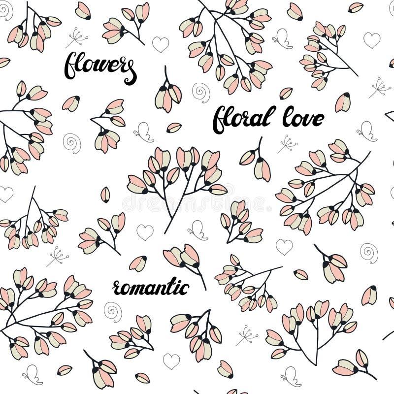 Blom- sömlös modell som göras av rosa stiliserade blommor och bokstäver Ändlös textur för den romantiska designen, garnering, häl stock illustrationer