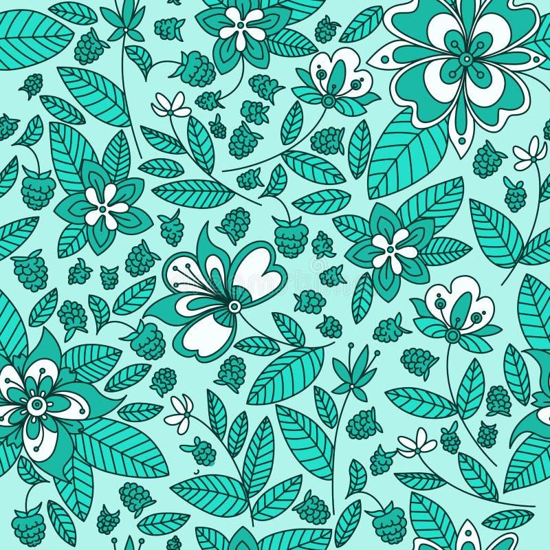 Blom- sömlös modellbakgrund för hallon royaltyfri illustrationer