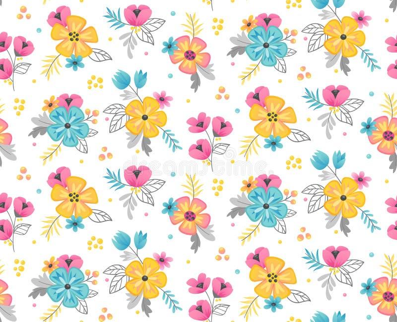 Blom- sömlös modellbakgrund för vår också vektor för coreldrawillustration royaltyfri illustrationer