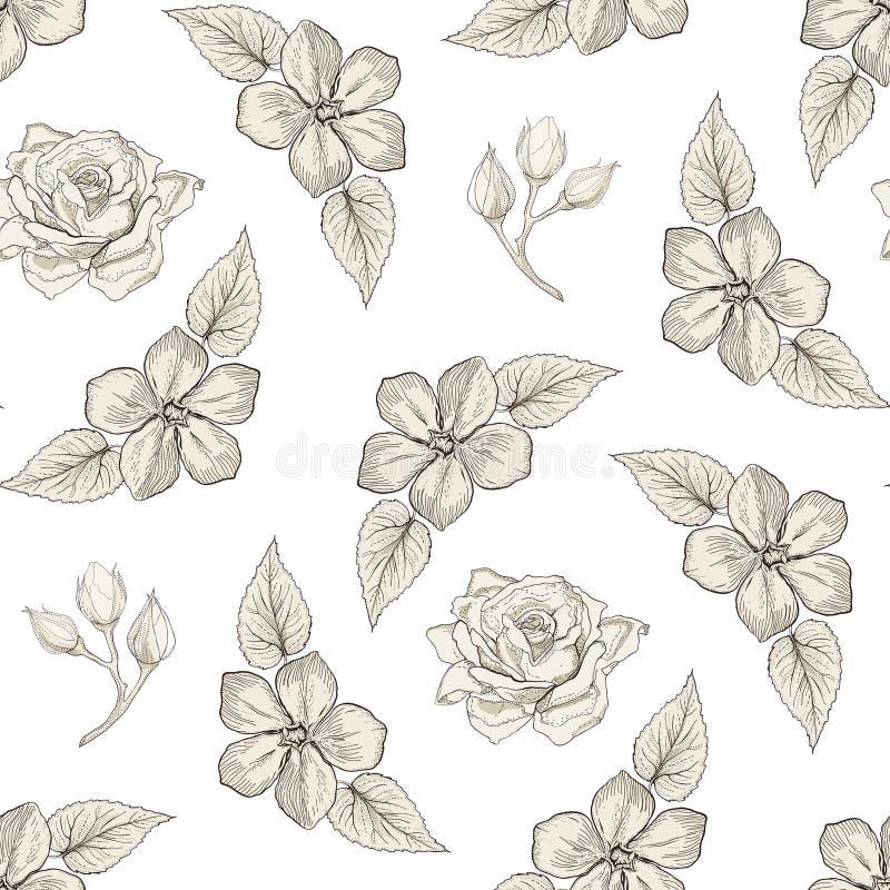 Blom- sömlös modellgravyrstil stock illustrationer