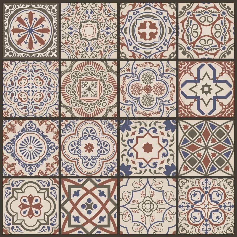 Blom- sömlös mosaiktegelplatta Keramisk tappningmodell för vektor Medelhavs- ottoman stock illustrationer