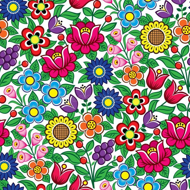 Blom- sömlös polsk folkkonstvektormodell - traditionell design med blommor och sidor från Zalipie i Polen stock illustrationer