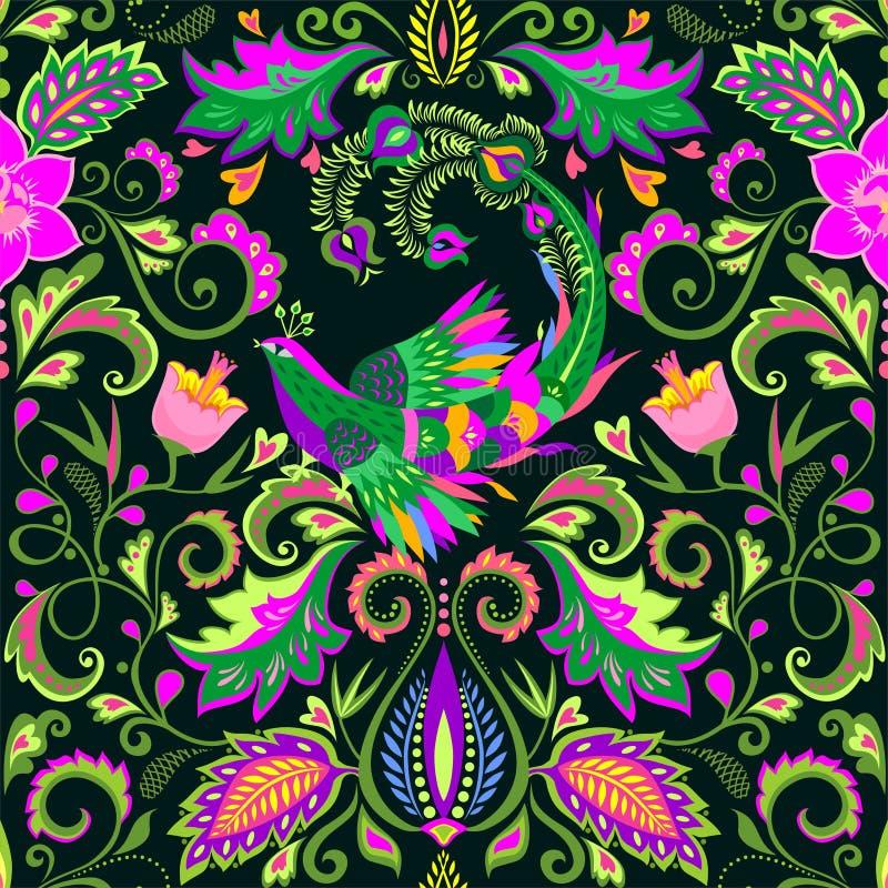 Blom- sömlös tapet för härlig tappning med exotiska blommor och den magiska fågeln royaltyfri illustrationer