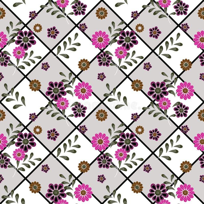 Blom- sömlös tappningpatte stiliserade konturer av blommor och filialer på en vit bakgrund Blommor och lämnar royaltyfri illustrationer