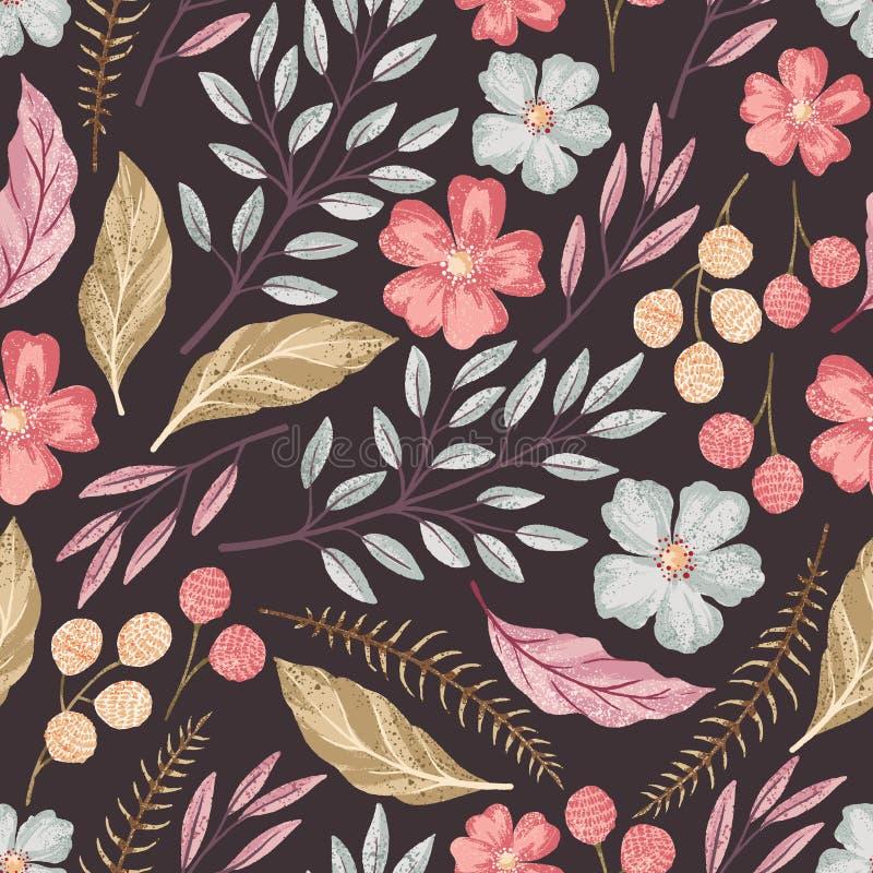 Blom- sömlös texturerad modell royaltyfri illustrationer