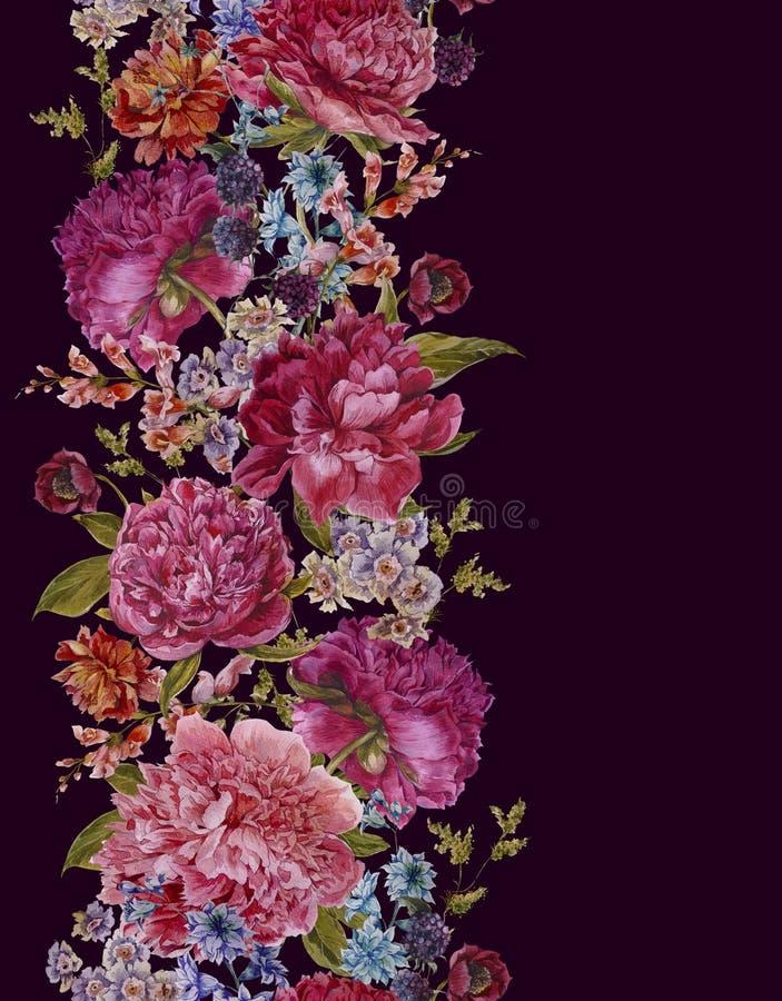 Blom- sömlös vattenfärggräns med Bourgogne royaltyfri illustrationer