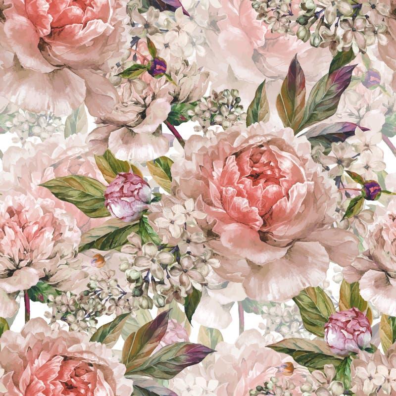 Blom- sömlös vattenfärgmodell för tappning royaltyfri illustrationer
