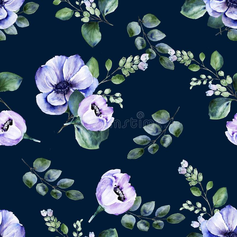Blom- sömlös vattenfärgmodell med blommor och att blomma för anemon snowberryris på mörk bakgrund stock illustrationer