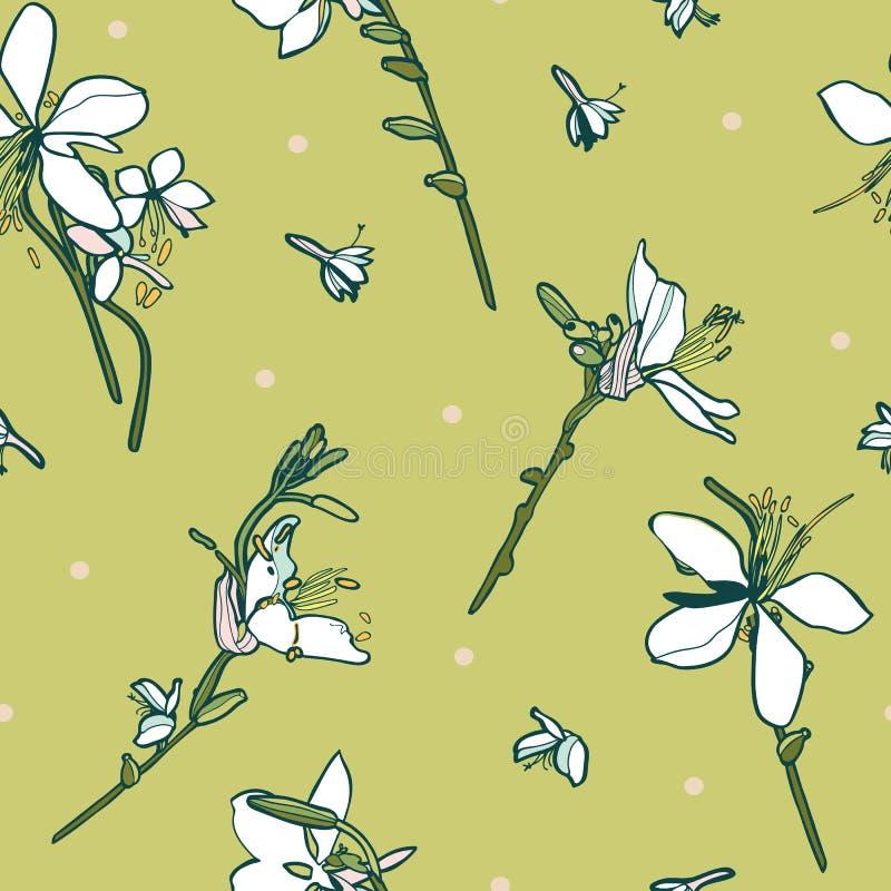 Blom- sömlös vektormodell med den vita liljan stock illustrationer