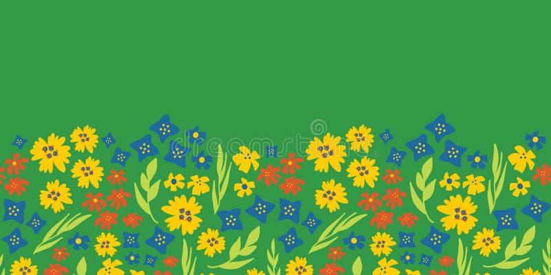 Blom- sömlös vektorrepetitiongräns Hand dragen grön sommarblommabakgrund, gult, blått Skandinavisk ditsy klotterlägenhet stock illustrationer
