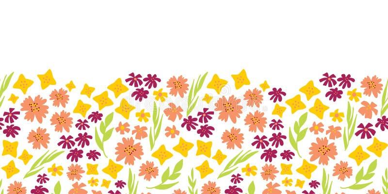 Blom- sömlös vektorrepetitiongräns Hand dragen grön sommarblommabakgrund, gult, rosa Skandinavisk ditsy klotterlägenhet stock illustrationer