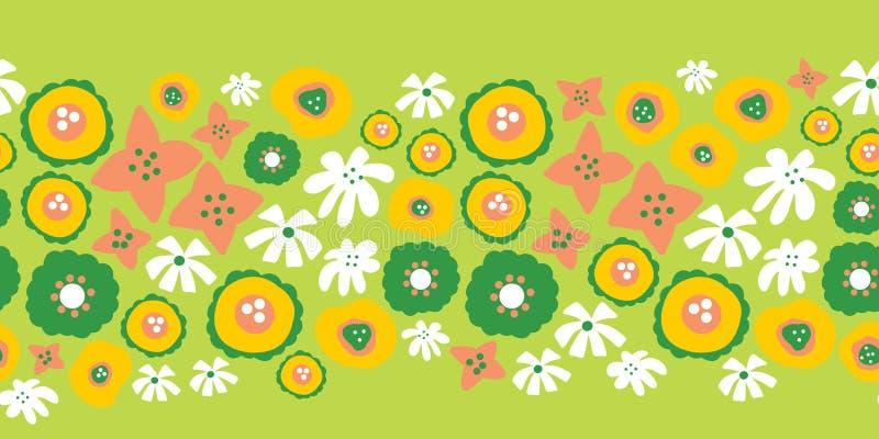 Blom- sömlös vektorrepetitiongräns Hand dragen grön sommarblommabakgrund, gult, rosa, vitt Skandinavisk klotterlägenhet royaltyfri illustrationer