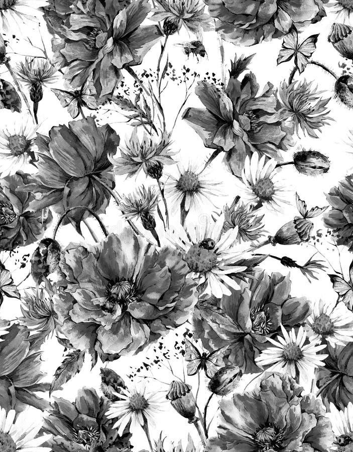 Blom- sömlöst för monokrom vattenfärgtappning stock illustrationer