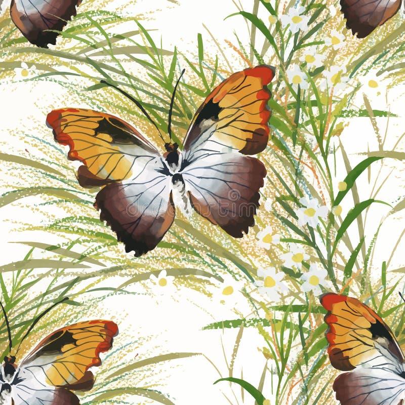 Blom- sömlöst för tappning på vit bakgrund med rosor, fjärilen och lösa blommor, vektorvattenfärgillustration stock illustrationer