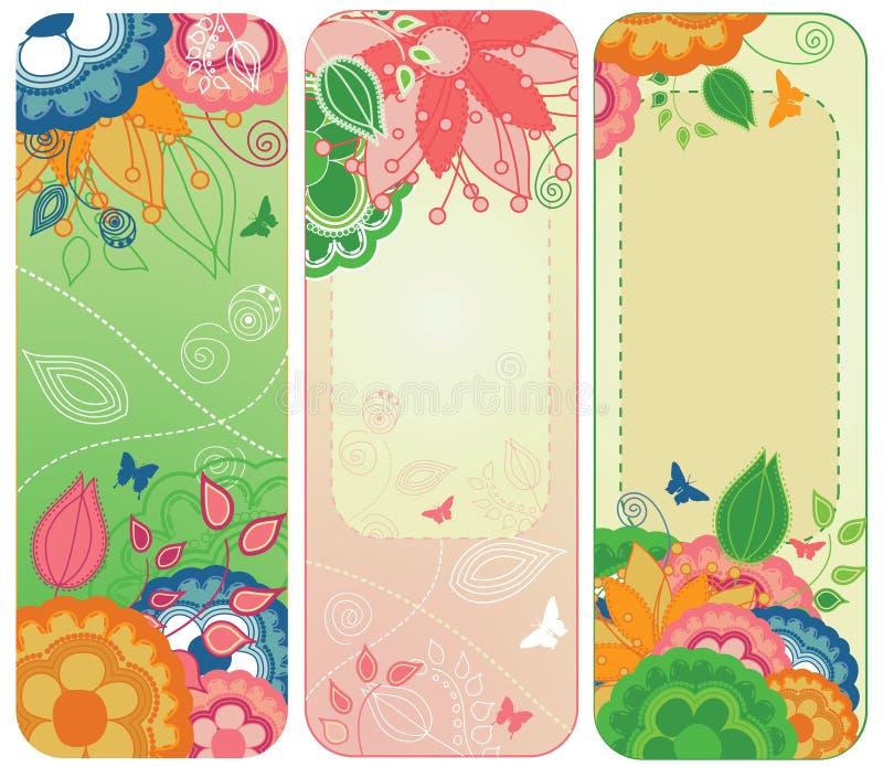 blom- sötsak för banerbokmärkear royaltyfri illustrationer