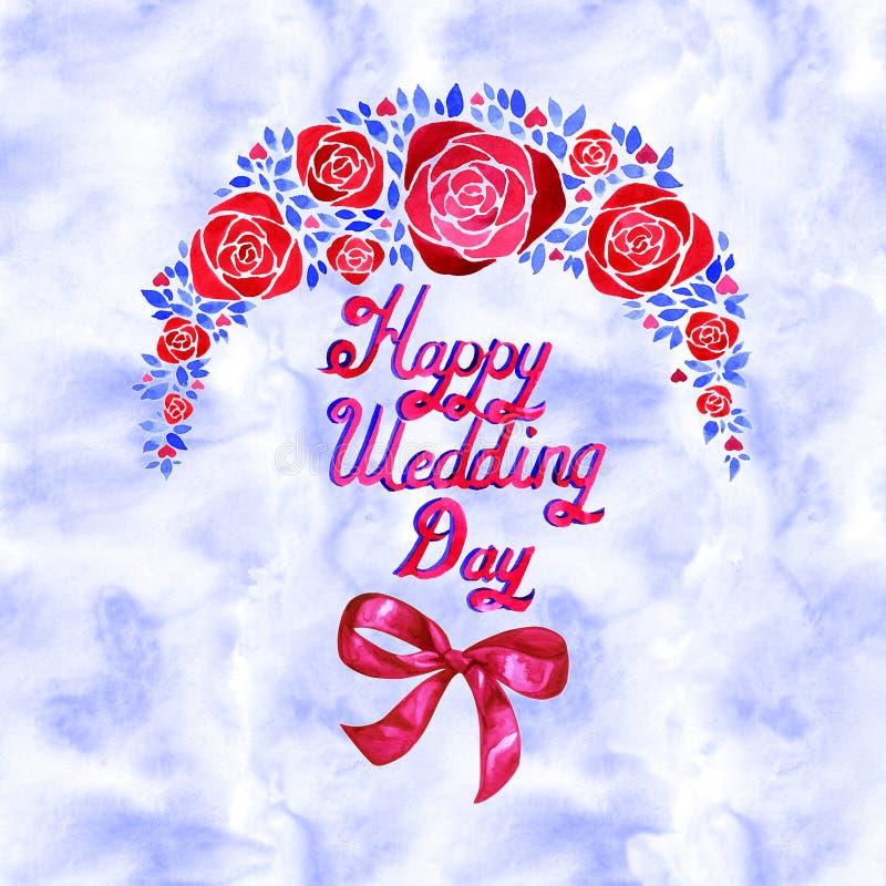 Blom- sammansättning för elegant vattenfärg med blåa och röda blommor Det ska vara stort för en älskvärd inbjudan, hälsningkort royaltyfria foton