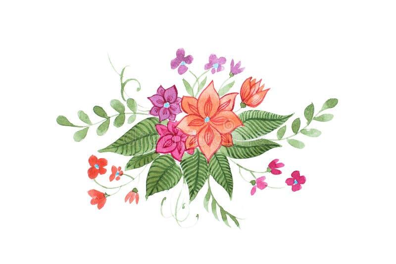 Blom- sammansättning för vattenfärg av ljusa lösa blommor och sidor stock illustrationer