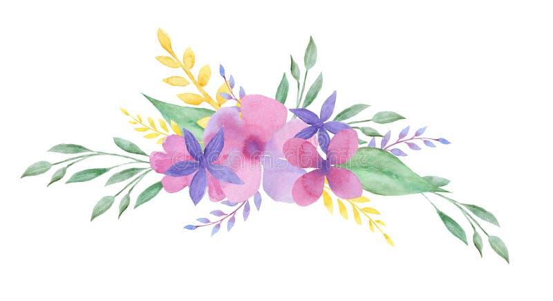 Blom- sammansättning för vattenfärg Ram bröllopdesigh vektor illustrationer
