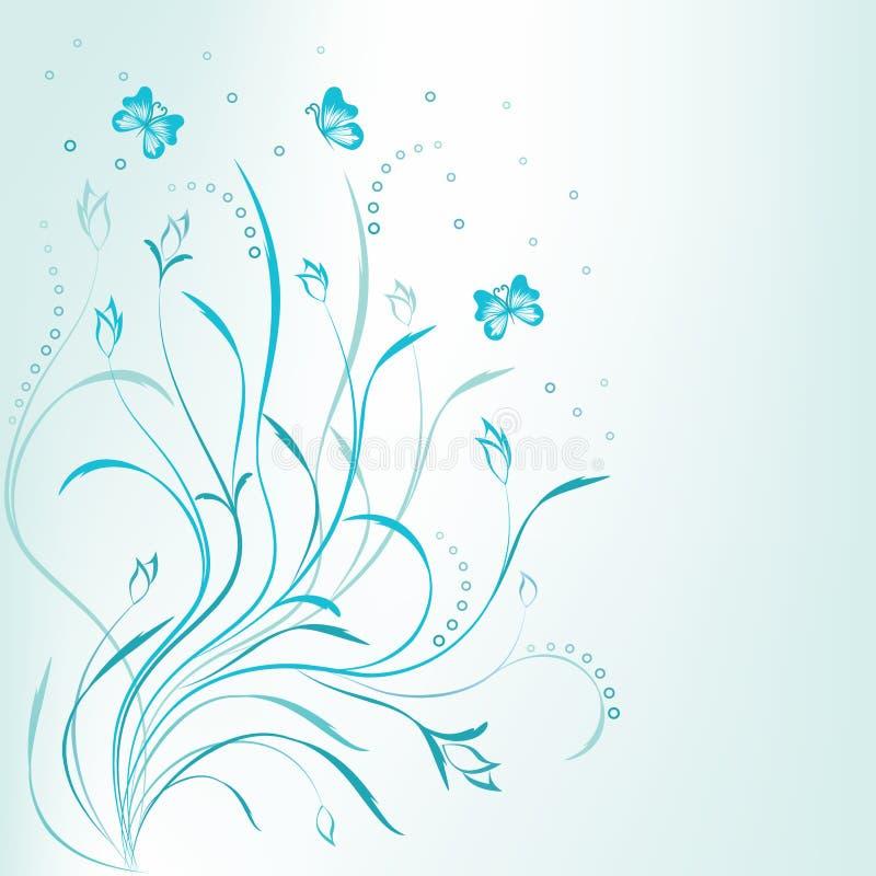 blom- scroll för konstnärlig blå design stock illustrationer