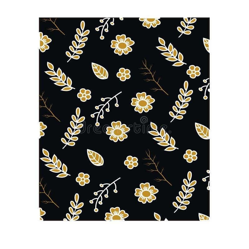 Blom- seamlesmodell på svart bakgrund stock illustrationer