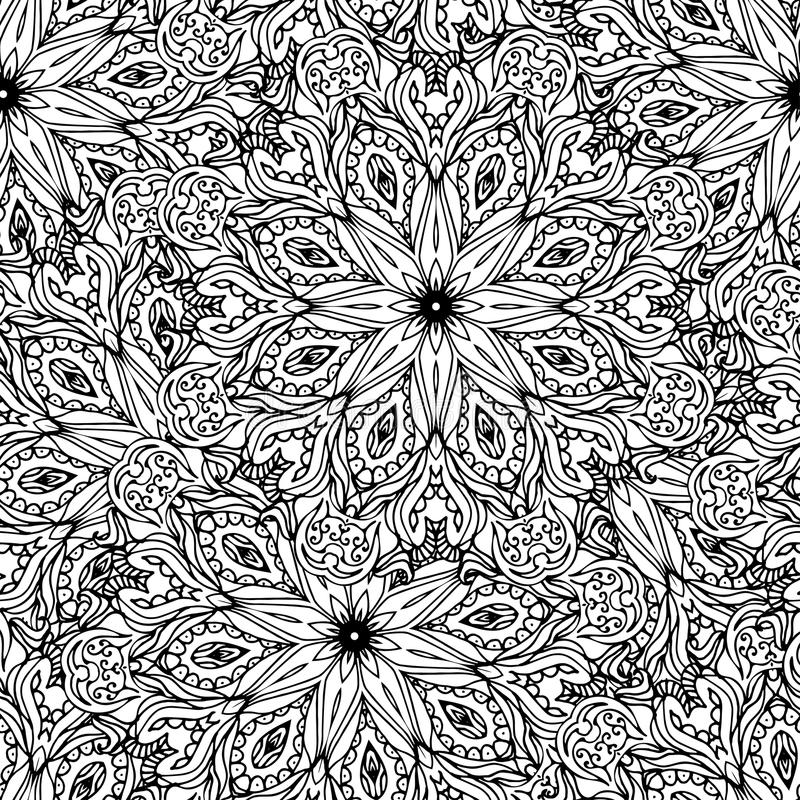 blom- seamless för bakgrund Etnisk klotterdesignmodell Abstra royaltyfri illustrationer