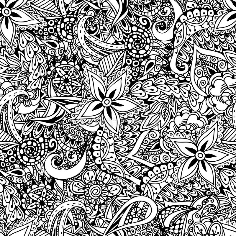 blom- seamless för bakgrund Etnisk klotterdesignmodell Abstra vektor illustrationer