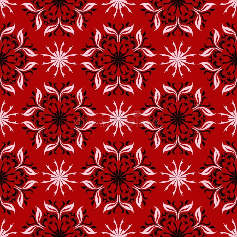 blom- seamless för bakgrund Svartvit blommamodell på rött royaltyfri illustrationer