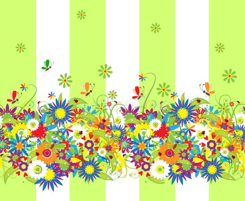 blom- seamless sommar för bakgrundsdag stock illustrationer