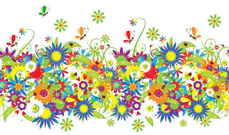 blom- seamless sommar för bakgrundsdag vektor illustrationer