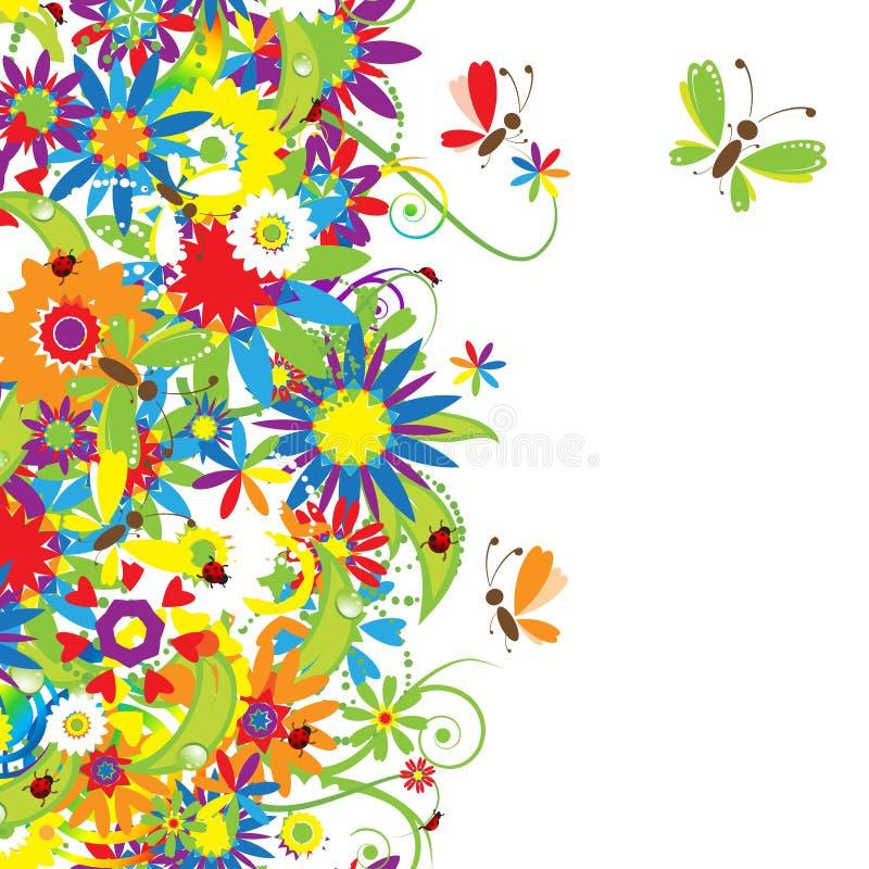 blom- seamless sommar för bakgrundsdag royaltyfri illustrationer