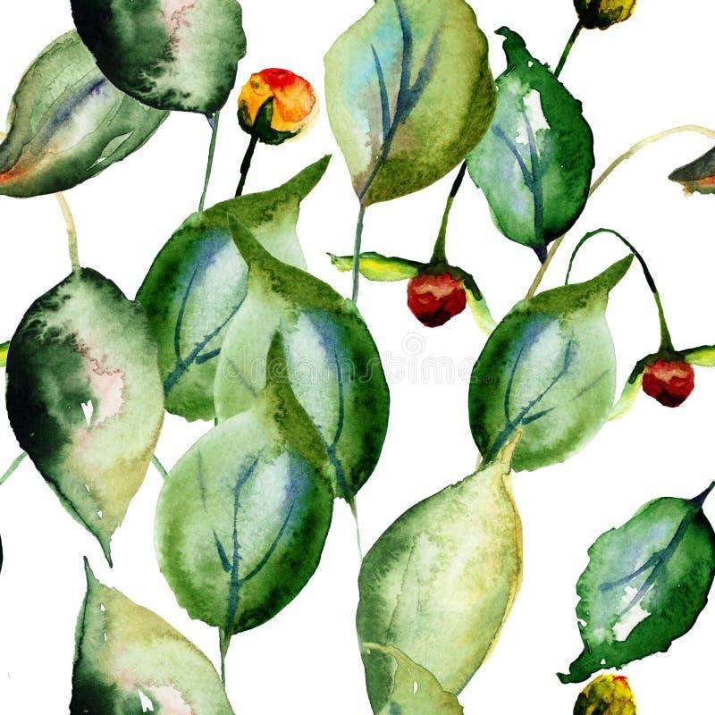 blom- seamless wallpaper royaltyfri illustrationer